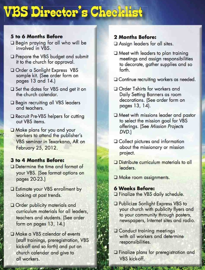 VBS Director's Checklist - page 1