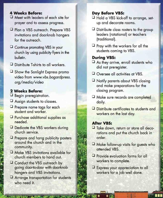 VBS Director's Checklist - page 2